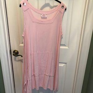 Sleeveless pink long top